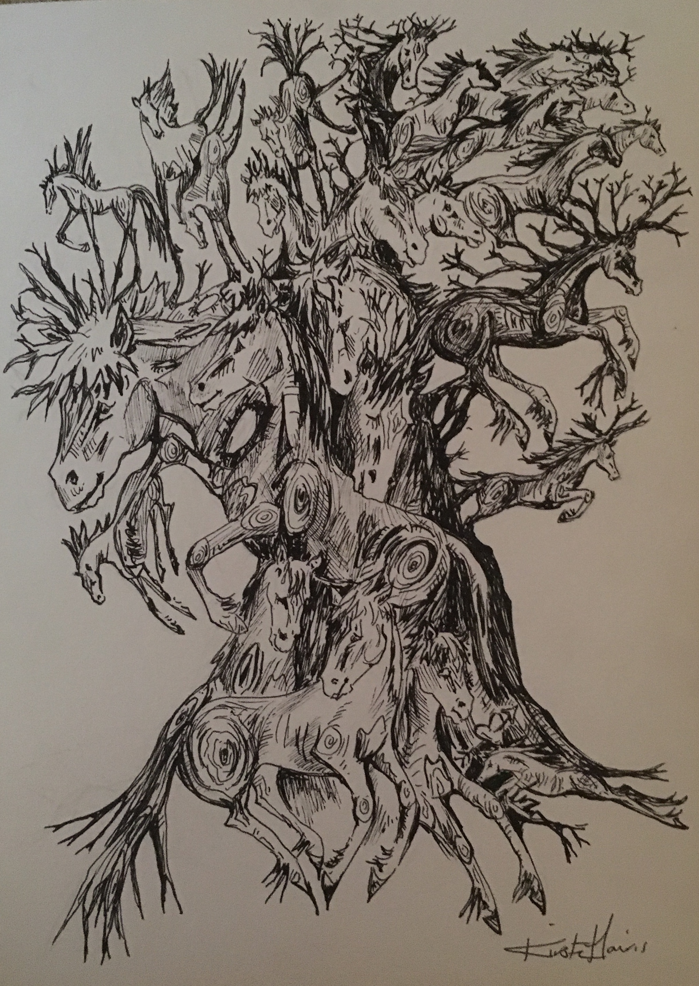 The Old Horse Chestnut Tree A3 Art Print Kirsten Harris Art